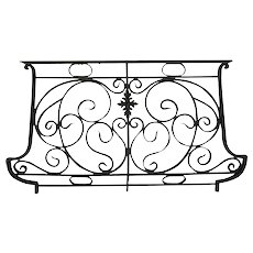 French Art Nouveau Wrought Iron and Bronze Bombe Balcony