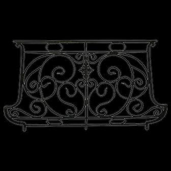French Art Nouveau Wrought Iron and Bronze Bombe Balcony