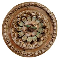 Indo-Portuguese Painted Teak Ceiling Medallion Hook
