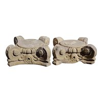 Pair of American Chicago Neoclassical Limestone Pillar Capitals