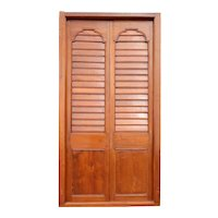 Large Anglo Indian Teak Louvered Double Door with Frame