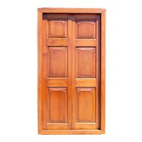 Large Anglo Indian Teak Paneled Double Door with Frame