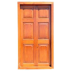 Large Anglo Indian Paneled Teak Double Door with Frame