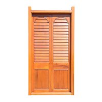 Anglo Indian Teak Louvered Double Door with Frame