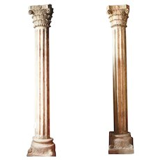 Pair of Anglo Indian Painted Teak Pilaster Pillars with Limestone Bases