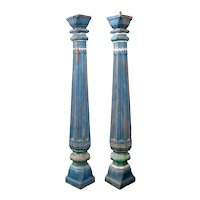 Pair of Indian Blue Painted Solid Teak Architectural Columns