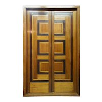 Modernist Teak and Rosewood Paneled Double Door with Frame from Chandigarh