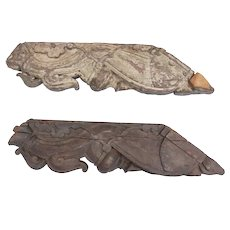 Pair of Indian Teak Architectural Roof Support Eave Brackets