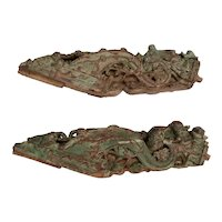Pair of Indian Mughal Painted Teak Architectural Roof Eave Brackets