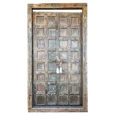 Indo-Portuguese Iron Nailhead Mounted Teak Double Door with Frame