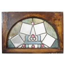 American Victorian Stained and Leaded Glass Arched Transom Window
