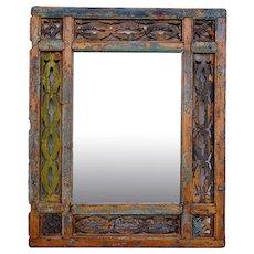 Moorish Painted Pine Fretwork Mirror Frame