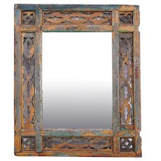 Moorish Painted Pine Fretwork Mirror Frame