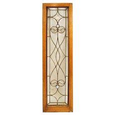 American Victorian Oak, Beveled and Glue Chip Glass Window