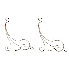 Pair of French Painted Wrought Iron Architectural Scrolled Brackets