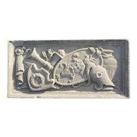 American Limestone Theater Masks Architectural Lintel Panel