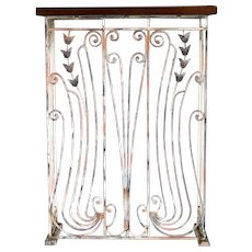 Swedish Jugendstil Wrought Iron Grille Marble Top Console Table