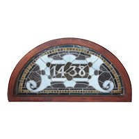 American Stained, Jeweled and Leaded Glass Arched Transom Window