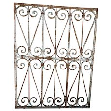 Small French Heavy Painted Rectangular Wrought Iron Grille