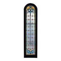 American Victorian Jewelled, Textured and Stained Glass Arched Window