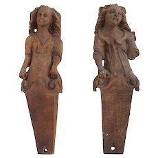 Pair of Early Danish Carved Oak Figural Brackets
