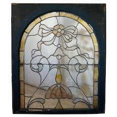 American Victorian Stained and Leaded Glass Arched Window