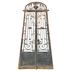 Large Argentine Beaux Arts Wrought Iron Arched Transom Entry Gate