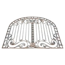 Very Large Argentine Beaux Arts Wrought Iron Arched Gate Panel
