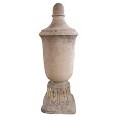 American Art Deco Limestone Architectural Roof Urn Finial on Capital Base