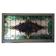American Victorian Stained and Leaded Glass Transom Window