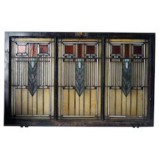 American Prairie School Stained and Zinc Framed Glass Three-Part Window