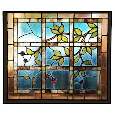 American Aesthetic Movement Stained and Leaded Glass Cherry Branch Window