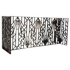 French Art Deco Wrought Iron Architectural Grille Panels Table Base