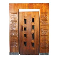 American EDGAR BRITTON Mid Century Modern Walnut Door and Surround