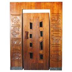 American EDGAR BRITTON Mid Century Modern Walnut Door and Surround