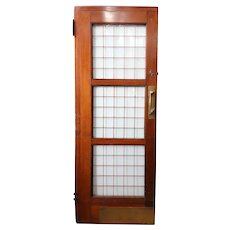 English Mahogany and Copper Leaded Glass Single Door