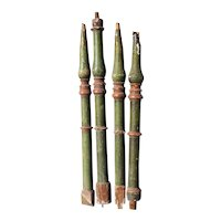Set of Four Spanish Baroque Green Painted Pine Staircase Baluster Spindles