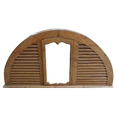 Anglo Indian Teak Arched Louvered Transom