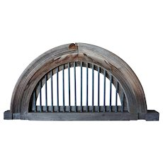 Teak and Brass Bar Arched Architectural Transom