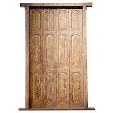 Large Indian Teak Paneled Double Door with Jamb