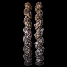Pair of Spanish Baroque Pine Carved Grape Spiral Architectural Columns