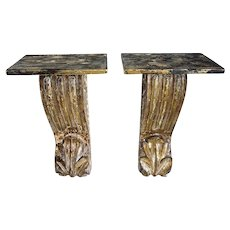 Pair of Indian Goan Teak Architectural Scrolled Brackets