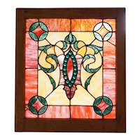 Small American Victorian Stained Glass and Faceted Jewelled Window