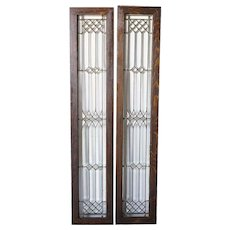 Pair of American Arts and Crafts Beveled and Leaded Glass Sidelight Windows