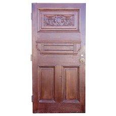 English Victorian Quarter Sawn Oak Carved Panel Single Door