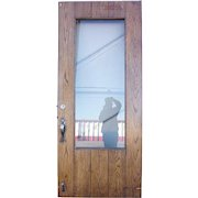 American Tudor Revival Iron Mounted Oak and Glass Single Door