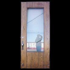 American Tudor Revival Iron Mounted Oak and Glass Single Door