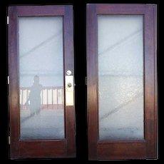 American Glue Chip Glass Double Door