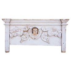 Indo-Portuguese Baroque Painted Teak Architectural Altar Angel Mask Wall Panel