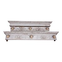 Two Indo-Portuguese Baroque Painted Teak Architectural Putti Cornices